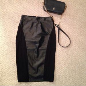 Bebe genuine leather contrast pencil skirt